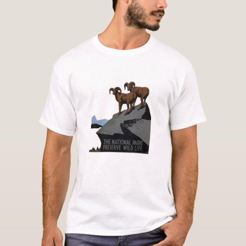 Vintage WPA National Parks T-Shirt: Rams on a Hil