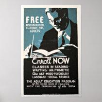 Vintage WPA Neighborhood Classes Reading, Writing, Poster