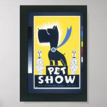 Vintage WPA Pet Show Art Poster  c. 1930-1950