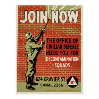 Vintage WPA Poster Civil Defense Join Now