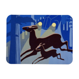 Vintage WPA Poster Doe and Fawn Deer Wild Life Rectangular Magnets