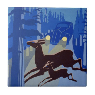 Vintage WPA Poster Doe and Fawn Deer Wild Life Small Square Tile