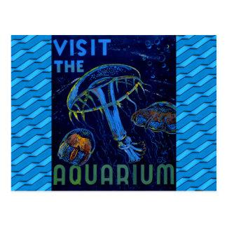 Vintage WPA Visit The Aquarium Poster Postcard
