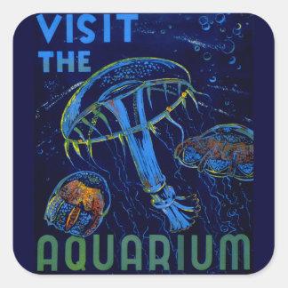 Vintage WPA Visit The Aquarium Poster Square Stickers