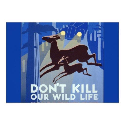 Vintage WPA Wildlife Conservation Poster 5x7 Paper Invitation Card
