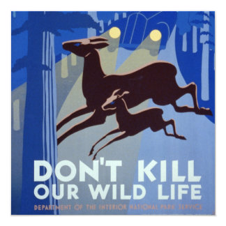 Vintage WPA Wildlife Conservation Poster 5.25x5.25 Square Paper Invitation Card