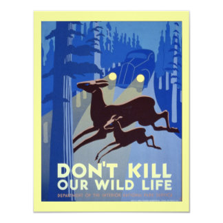 Vintage WPA Wildlife Conservation Poster 4.25x5.5 Paper Invitation Card