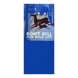 Vintage WPA Wildlife Conservation Poster 4x9.25 Paper Invitation Card