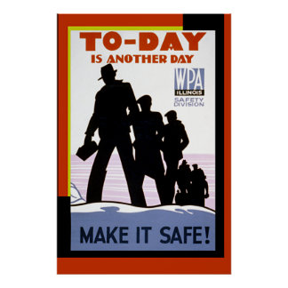 Vintage WPA Work Safety Poster Print