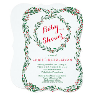 Vintage Wreath Berries Christmas Baby Shower Card