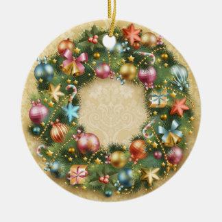 Vintage Wreath Ceramic Ornament