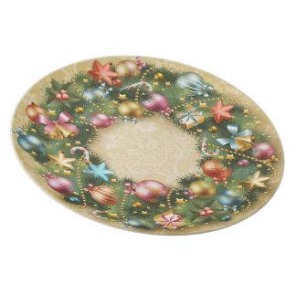 Vintage Wreath Melamine Plate