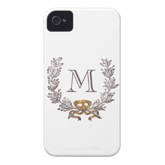 Vintage Wreath Personalized Monogram Initial iPhone 4 Cover