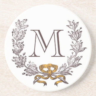 Vintage Wreath Personalized Monogram Initial Coaster