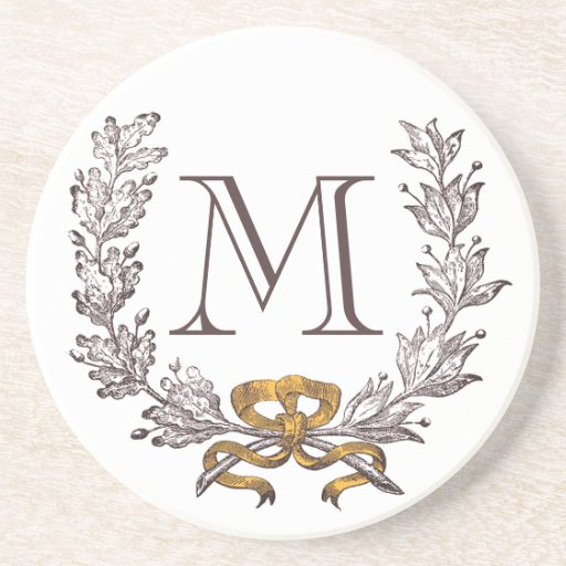 Vintage Wreath Personalized Monogram Initial Drink Coaster