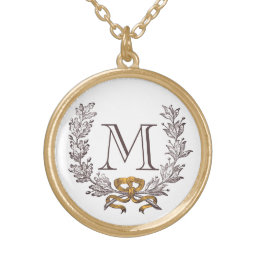 Vintage Wreath Personalized Monogram Initial Gold Gold Plated Necklace