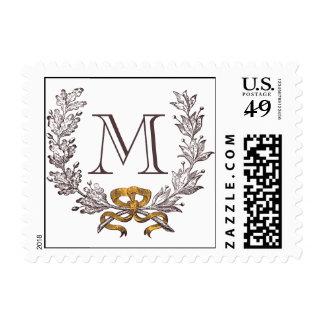 Vintage Wreath Personalized Monogram Initial Postage Stamp