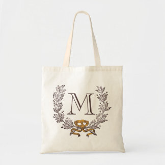 Vintage Wreath Personalized Monogram Initial Tote