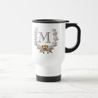 Vintage Wreath Personalized Monogram Initial Travel Mug