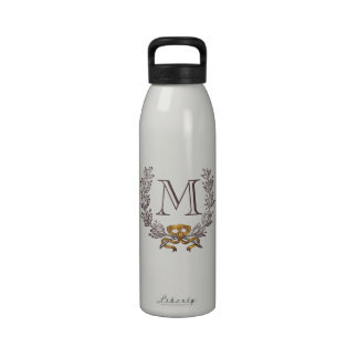 Vintage Wreath Personalized Monogram Initial Water Drinking Bottle