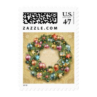 Vintage Wreath Postage Stamp