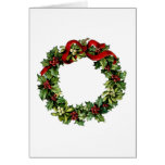 Vintage Wreath with Red Bow Holly Gift Collection Greeting Card