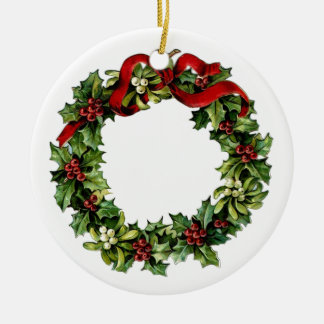 Vintage Wreath with Red Bow Holly Gift Collection Ceramic Ornament