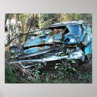 Vintage Wrecked Car Poster