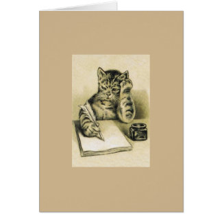 Vintage Writer Cat Note Card