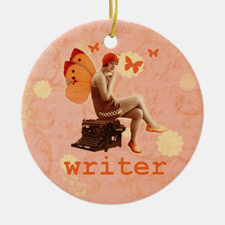 Vintage Writer Fairy with Typewriter Ceramic Ornament