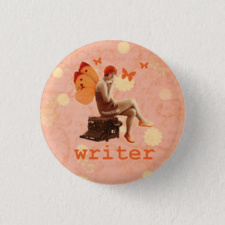 Vintage Writer Fairy with Typewriter Pinback Button