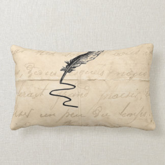 Vintage Writer's Feather Quill Lumbar Pillow