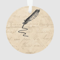 Vintage Writer's Feather Quill Ornament at Zazzle