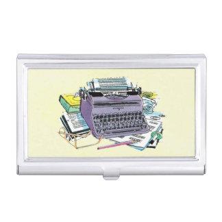 Vintage Writer's Tools Typewriter Paper Pencil Business Card Holder