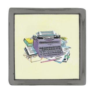 Vintage Writer's Tools Typewriter Paper Pencil Gunmetal Finish Lapel Pin