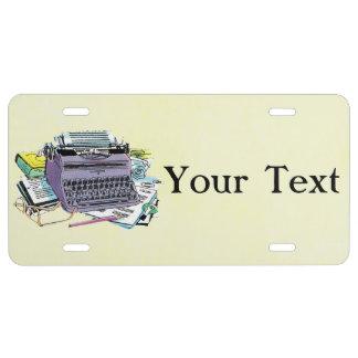 Vintage Writer's Tools Typewriter Paper Pencil License Plate