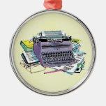Vintage Writer's Tools Typewriter Paper Pencil Round Metal Christmas Ornament