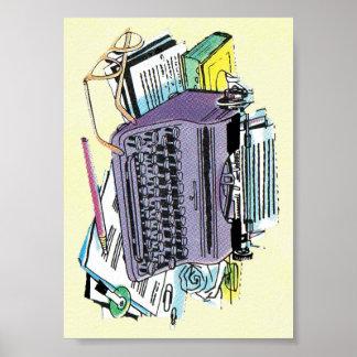 Vintage Writer's Tools Typewriter Paper Pencil Posters