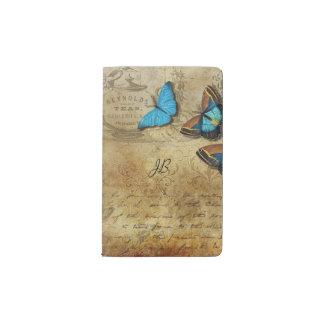Vintage Writing and Butterflies Pocket Moleskine Notebook