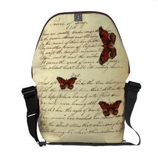 Vintage Writing Literary Chic Dandy butterflies Messenger Bag
