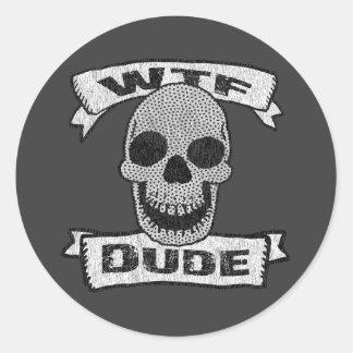 Vintage WTF Dude Skull Classic Round Sticker