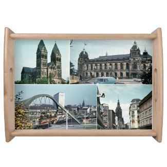 Vintage Wuppertal Photo Collage Serving Tray