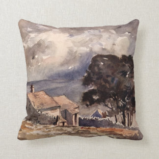 Vintage Wuthering Heights Bronte Landscape Throw Pillow