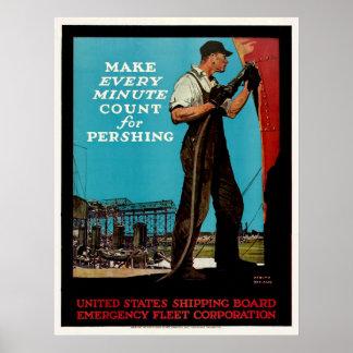 Vintage WW1 Emergency Fleet Patriotic Shipbuilders Posters