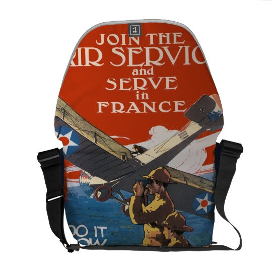 Vintage WW1 Military Recruiting Air Service France Courier Bag