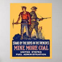 Vintage WW1 Patriotic Coalminer and Doughboy Retro Poster