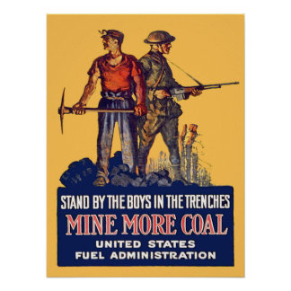 Vintage WW1 Patriotic Coalminer and Doughboy Retro Poster