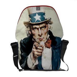 Vintage WW1 Patriotic Military Recruit Uncle Sam Messenger Bag