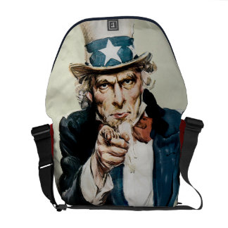Vintage WW1 Patriotic Military Recruit Uncle Sam Messenger Bag