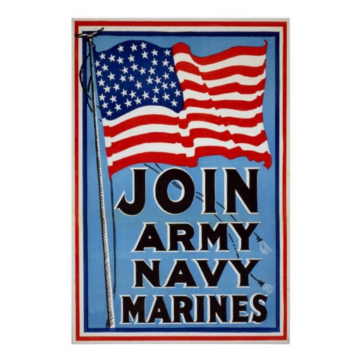 Vintage WW1 Poster ~ Join Army~ Navy~Marines